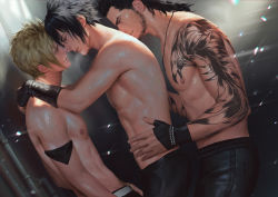 3boys abs against_wall blonde_hair blush facial_hair final_fantasy final_fantasy_xv gladiolus_amicitia male_focus multiple_boys muscle naughty_face nipples noctis_lucis_caelum penguin_frontier prompto_argentum scar smile steam sweat tattoo topless undressing yaoi