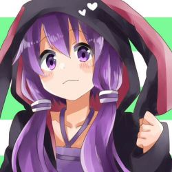 1girl animal_ears bunny_ears hood hoodie low_twintails lowres matsu_(sekaowaoneok) purple_eyes purple_hair smile solo twintails vocaloid yuzuki_yukari