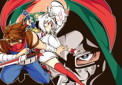 1girl 2boys amaterasu animal_ears arm_blade blue_eyes brown_eyes brown_hair doctor_doom dual_persona face_mask fighting_stance glaive hood japanese_clothes kimono marvel marvel_vs._capcom marvel_vs._capcom_3 mask multiple_boys ookami_(game) personification red_legwear red_scarf scarf shunao strider_(video_game) strider_hiryuu sword tail thighhighs tonfa weapon white_hair wolf wolf_ears wolf_tail wrist_cuffs yukata