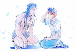 2boys blue_hair emiya_shirou fate/stay_night fate_(series) flower hair_down head_wreath jewelry lancer loincloth long_hair multiple_boys necklace orange_hair shirtless simple_background tattoo whitetea9