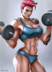 1girl abs breasts cleavage dandon_fuga dumbbell female green_eyes large_breasts looking_at_viewer muscle muscular_female navel overwatch panties pink_hair scar solo sports_bra tattoo underwear weightlifting weights zarya_(overwatch)
