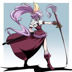 1girl boots bow dress from_behind full_body gradient gradient_background hair_bow high_heel_boots high_heels holding holding_sword holding_weapon katana kikoka_(mizuumi) knee_boots kneepits long_hair looking_at_viewer looking_back outstretched_arm planted_sword planted_weapon purple_eyes purple_hair scabbard shadow sheath simple_background solo stiletto_heels sword touhou very_long_hair watatsuki_no_yorihime wavy_hair weapon