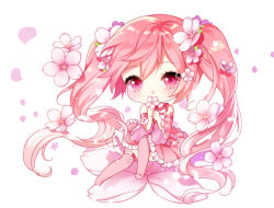 1girl alternate_color bangs chibi detached_sleeves flower frilled_skirt frills hair_flower hair_ornament hatsune_miku holding holding_flower looking_at_viewer myoya petals pink_eyes pink_hair pink_legwear sakura_miku simple_background sitting skirt solo tattoo thighhighs twintails vocaloid white_background