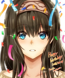 black_hair blue_eyes collarbone confetti face hairband idolmaster idolmaster_cinderella_girls light_smile long_hair off-shoulder_sweater open_mouth sagisawa_fumika sparkle sweater yamada_naoko_(hideko1227)