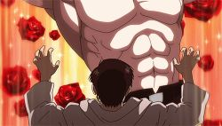 1boy 1girl abs alex_louis_armstrong animated animated_gif flower fullmetal_alchemist manly maria_ross muscle shirtless tears