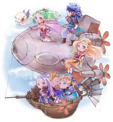 airship celes_chere chibi edgar_roni_figaro final_fantasy final_fantasy_vi highres lock_cole marumari mash_rene_figaro mog moogle multiple_boys multiple_girls propeller setzer_gabbiani tina_branford