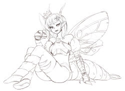 1girl antennae ass barbariank bare_shoulders beelzebub_(monster_girl_encyclopedia) boots carapace crown eating fang food food_on_face fur greyscale hair_ornament insect_girl insect_wings lineart looking_at_viewer monochrome monster_girl monster_girl_encyclopedia paws pointy_ears sandwiched simple_background sitting skull_and_crossbones skull_hair_ornament solo thighhighs wings