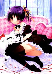 1girl :3 absurdres black_legwear blue_panties breasts cleavage curtains detached_collar dress heart heart_pillow highres jewelry lying nanaka_mai necklace on_side panties petals pillow purple_hair rose_petals short_hair side_ponytail smile striped striped_panties stuffed_animal stuffed_cat stuffed_toy thighhighs underwear window