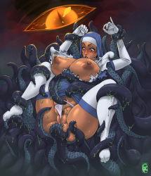 1girl blush breasts cedargrove ciara erect_nipples nipples nun panties panty_pull pubic_hair pussy restrained tentacle uncensored