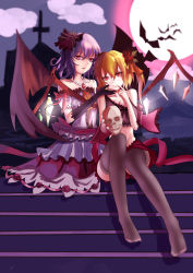 2girls absurdres alternate_costume backlighting bat bat_wings black_legwear blonde_hair bow breasts brooch cleavage cloud collarbone cross dress finger_to_mouth flandre_scarlet flower frilled_dress frills hair_flower hair_ornament hand_on_another's_cheek hand_on_another's_face head_tilt highres jewelry looking_at_viewer moon moonlight mountain multiple_girls night night_sky no_shoes nose open_mouth purple_dress purple_eyes purple_hair red_eyes red_moon red_skirt remilia_scarlet rose scarlet_devil_mansion short_hair siblings side_ponytail silhouette sisters sitting skirt skull sky slit_pupils small_breasts smile stairs thighhighs touhou wings yue_ling_yu
