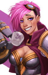 1girl armor breastplate breasts bust caitlyn_(league_of_legends) capelet carlos_eduardo character_name chibi_inset cleavage ear_piercing eyebrows eyelashes facial_tattoo goggles goggles_on_head grin league_of_legends lips mechanical_arms medium_breasts nose nose_piercing oversize_forearms pauldrons piercing pink_hair punk purple_eyes short_hair smile solo tattoo vi_(league_of_legends)
