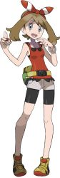 1girl :d bike_shorts blue_eyes bow brown_hair fanny_pack full_body hair_bow hair_ribbon haruka_(pokemon) haruka_(pokemon)_(remake) highres holding holding_poke_ball looking_at_viewer official_art open_mouth poke_ball pokemon pokemon_(game) pokemon_oras ribbon short_shorts shorts sleeveless sleeveless_shirt small_breasts smile solo standing sugimori_ken transparent_background wristband