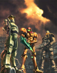 1girl 2boys armor crossover epic gun halo_(game) helghast helmet killzone master_chief metroid microsoft multiple_boys nintendo power_armor power_suit samus_aran sony standing trio weapon