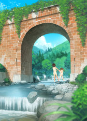 2girls architecture ass back black_hair blush bridge brown_hair highres loli long_hair multiple_girls navel nude one-piece_tan open_mouth original river rock scenery short_hair sky sol-fa-soft splashing tan tanline tree twintails wading water