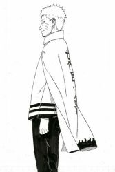 1boy black_and_white cape kishimoto_masashi naruto official_art sketch solo spiked_hair uzumaki_naruto whiskers