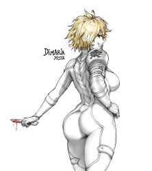 1girl armor artist_name ass back bangs blonde_hair blood bloody_weapon bodysuit breasts character_name cowboy_shot dimaria_yesta dripping eyebrows_visible_through_hair eyelashes fairy_tail from_behind gloves grin hand_on_hip highres holding holding_knife holding_weapon knife looking_at_viewer looking_back medium_breasts pale_skin pauldrons profile red_eyes revision short_hair simple_background skin_tight smile solo strap_gap the_golden_smurf thighs weapon white_background white_bodysuit white_gloves