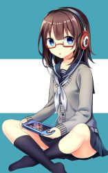 1girl black_legwear blue_eyes brown_hair collarbone glasses handheld_game_console headphones highres holding indian_style kneehighs long_hair looking_at_viewer original playstation_vita pleated_skirt school_uniform serafuku sitting skirt solo sweater yuusa