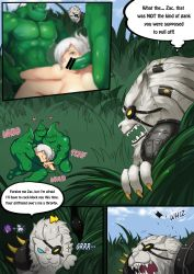 censored female hetero league_of_legends male nidalee oral rengar riven riven_(league_of_legends) zac