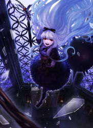 1girl :d black_dress black_ribbon blurry broken_glass chains dark depth_of_field dress falling floating_hair frilled_dress frills glass gothic_lolita hair_ribbon holding lavender_hair lolita_fashion long_hair mzkui_232 open_mouth original red_eyes ribbon shelf silver_hair smile solo spikes stained_glass stuffed_animal stuffed_toy teddy_bear teeth very_long_hair