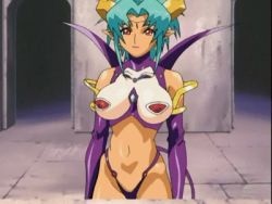 1girl animated animated_gif ass boots bounce bouncing_breasts breasts carrera demon_girl demon_tail earrings elbow_gloves flying from_behind gloves green_hair horns huge_ass huge_breasts jewelry lipstick makeup midriff nipples oobari_masami pink_lipstick pointy_ears red_eyes red_sky sky solo succubus tail thigh_boots thighhighs viper viper_gts wings