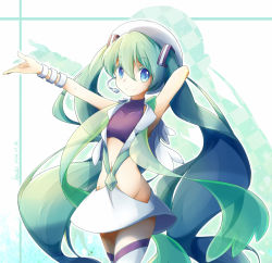 1girl 2014 arms_up artist_name blue_eyes bracelet dated green_hair hacko hat hatsune_miku headset jewelry long_hair mikuri_(pokemon) mikuri_(pokemon)_(cosplay) navel outstretched_arm pokemon pokemon_(game) pokemon_oras skirt smile solo thighhighs twintails very_long_hair vocaloid