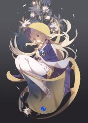 1girl blonde_hair braid gradient gradient_background grey_background hands_clasped highres hood hood_up japanese_clothes kimono lillie_(pokemon) long_hair looking_at_viewer lunala no-kan pokemon pokemon_(game) pokemon_sm sandals smile solo twin_braids uchikake white_flower white_kimono yellow_eyes