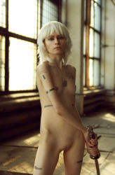 1girl breasts cosplay dog_tags metal_gear_solid nude photo pussy raiden small_breasts solo standing sword tattoo thigh_gap uncensored white_hair