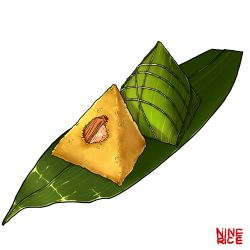 absurdres artist_name artist_request bamboo bamboo_leaf commentary_request food fried_rice highres no_humans realistic simple_background string taro_(food) text white_background zongzi