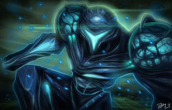 arm_cannon dark_samus looking_at_viewer metroid metroid_prime nintendo power_armor rafael_castorena solo visor