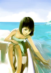 1girl bangs black_eyes black_hair blue_sky boat breasts child cleavage cloud dress flat_chest horizon illidan labcoat legs_together light_smile lips nose ocean original outdoors ripples sitting sky smile solo summer sundress tank_top water white