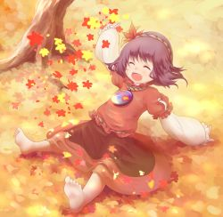 1girl ^_^ arm_support autumn autumn_leaves barefoot eyes_closed feet hair_ornament happy highres leaf_hair_ornament legs_apart long_sleeves mirror open_mouth purple_hair red_shirt red_skirt rope shimenawa shirt short_hair sitting skirt soles solo tatuhiro touhou tree yasaka_kanako younger