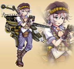 1girl alternate_costume alternate_hairstyle aoba_(kantai_collection) blue_eyes boots camera hat holding kantai_collection long_hair looking_at_viewer machinery silver_hair solo steampunk sweater_vest tk8d32 turret zoom_layer