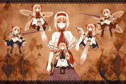 1girl alice_margatroid apron blonde_hair book bow brown_legwear capelet crote dress expressionless eyes_closed fairy_wings green_eyes hair_ribbon hairband highres hourai_doll knife long_hair long_sleeves looking_at_another looking_at_viewer mary_janes puppet_strings purple_eyes red_eyes ribbon shanghai_doll shoes short_hair short_sleeves solo touhou waist_apron weapon wings
