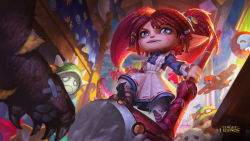 blue_eyes dress fang hammer highres league_of_legends official_art poppy poro_(league_of_legends) rammus red_hair teemo twintails