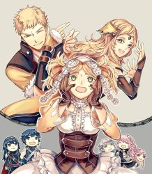 artist_request blonde_hair blue_hair breasts eyes_closed father_and_daughter female fire_emblem fire_emblem:_kakusei fire_emblem_if liz_(fire_emblem) lucina multiple_boys multiple_girls nintendo ophelia_(fire_emblem_if) pink_hair smile soleil_(fire_emblem_if)