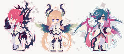 >:q 1girl 2boys :q ahoge arm_behind_back bangs blonde_hair blue_eyes blue_hair blush_stickers boots brett_graves brown_eyes chibi claws closed_mouth dragon_horns dragon_wings eyepatch full_body garter_straps gloves grey_hair horns iris_ashbery jitome lieat long_hair long_sleeves looking_at_viewer matching_hair/eyes miwasiba multicolored_hair multiple_boys neil_masefield official_art outline outstretched_arm pigeon-toed pointy_ears profile purple_eyes red_background red_hair scales short_hair simple_background skirt smile solo sparkle standing streaked_hair swept_bangs sword tongue tongue_out twintails two-tone_hair uniform very_long_hair weapon white_background white_boots white_gloves white_skirt wings