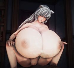 3d animated animated_gif areolae blush bounce bouncing_breasts breast_press breasts cat_ears cleavage cowgirl_position dark_skin gigantic_breasts illusion_soft lightning long_hair nipples nude penetration penis play_club pussy sex smile uncensored white_hair