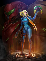 1girl armor bangs blonde_hair bodysuit boots creature full_body gloves green_eyes gun hair_tie handgun helmet holding holding_weapon holster light_rays lips lipstick long_hair looking_at_another makeup metroid metroid_(creature) parted_lips payot ponytail power_suit rayph_beisner samus_aran solo_focus standing thigh_holster varia_suit very_long_hair weapon zero_suit