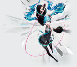 1girl aqua_eyes aqua_hair detached_sleeves hatsune_miku headset highres long_hair necktie official_art open_mouth solo thighhighs twintails very_long_hair vocaloid yucca-612