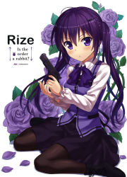 1girl boots flower gochuumon_wa_usagi_desu_ka? gun long_hair npcpepper pantyhose purple_eyes purple_hair purple_rose rabbit_house_uniform rose tedeza_rize twintails weapon