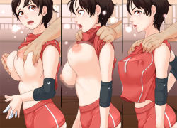 1boy 1girl bandage bandaged_fingers blush breast_grab breasts brown_hair erect_nipples flustered from_side grabbing huge_breasts looking_back nipples no_bra open_mouth original out_of_frame pink_ocean shirt_lift short_hair solo_focus sportswear sweatdrop volleyball_uniform