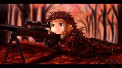 1girl aki_minoriko artist_name autumn autumn_leaves blonde_hair camouflage fatigues food fruit gloves grapes gun hat hat_ornament highres kys_(k-k2) letterboxed lying nature on_stomach red_eyes rifle scope serious short_hair sniper_rifle solo stick touhou tree weapon