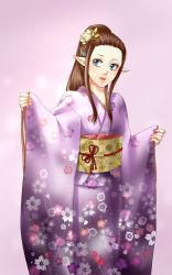1girl blue_eyes brown_hair flower hair_flower hair_ornament highres japanese_clothes kimono long_hair nintendo obi pointy_ears ponytail princess_zelda sash smile solo the_legend_of_zelda twilight_princess wasabi_(legemd)
