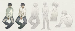 1boy black_hair character_sheet denim eyepatch highres honya_lala jeans long_image male_focus nude original pants partially_colored sitting sweater wide_image