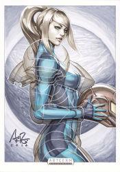 blonde_hair blue_eyes long_hair metroid nintendo ponytail samus_aran stanley_lau varia_suit zero_suit