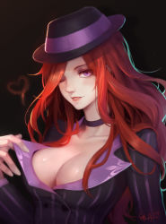 1girl absurdres alternate_costume black_background breasts choker cleavage hat heart highres league_of_legends lipstick long_hair looking_at_viewer makeup one_eye_closed parted_lips pinstripe_pattern purple_eyes red_hair red_lipstick sarah_fortune scarlet_moon shirt_pull signature simple_background solo