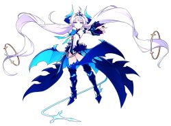 1girl absurdly_long_hair absurdres bat_wings blue_boots blue_bow blue_eyes boots bow braid chains crown detached_sleeves elsword french_braid greaves grin highres horns hwansang leotard long_hair luciela_r._sourcream noblesse_(elsword) official_art pointy_ears simple_background smile solo symbol-shaped_pupils tail thigh_boots thighhighs transparent_background twintails very_long_hair white_hair wings