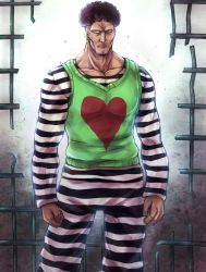1boy clenched_hand collarbone heart heart_print inaba-no-kuni-tottori looking_at_viewer male_focus muscle one-punch_man prison_clothes puri_puri_prisoner solo striped striped_clothes