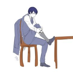 1boy adjusting_clothes adjusting_legwear akutoku_no_judgement_(vocaloid) artist_name blue_eyes blue_hair blue_jacket blue_pants chair evillious_nendaiki flat_color full_body ichi_ka jacket kaito male_focus necktie pants putting_on_shoes shirt signature sleeveless sleeveless_shirt sock_garters socks solo table vocaloid white_background