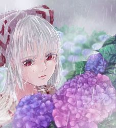 1girl blurry blurry_background bow closed_mouth commentary_request crying crying_with_eyes_open depth_of_field expressionless flower fog fujiwara_no_mokou hair_bow hair_over_shoulder hair_ribbon highres hydrangea lips long_hair mokoiscat outdoors rain red_eyes ribbon shirt signature silver_hair solo suspenders tears touhou upper_body wet wet_face wet_hair